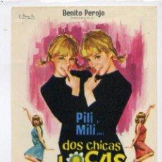 Flyers Publicitaires de films Anciens: DOS CHICAS LOCAS LOCAS, CON PILI Y MILI, S/I.. Lote 104409971