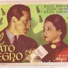 Cine: PROGRAMA CINE EL GATO NEGRO BASIL RATHBONE HUGH HERBERT BROD CRAWFORD DIRECTOR ALBERT ROGELL. Lote 104446979
