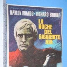 Cine: LA NOCHE DEL SIGUIENTE DIA (MARLON BRANDO) *** ANTIGUO FOLLETO ACCION / DRAMA *** AÑO 1969. Lote 104516819