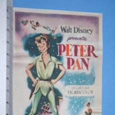 Cine: PETER PAN *** ANTIGUO FOLLETO CINE AVENTURA / INFANTIL *** WALT DISNEY *** DESPEGADO. Lote 104521651