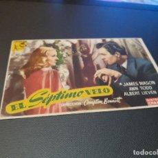 Cine: PROGRAMA DE MANO ORIGINAL - EL SEPTIMO VELO- ( CON PUBLICIDAD CINE DE VITORIA 1947) . Lote 104642175