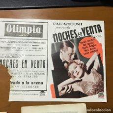 Cine: NOCHES EN VENTA CINE OLIMPIA 1933. Lote 104709871