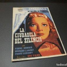Cine: PROGRAMA DE MANO ORIGINAL - LA CIUDADELA DEL SILENCIO( CON PUBLICIDAD SALON MIRAMAR ) . Lote 104747055