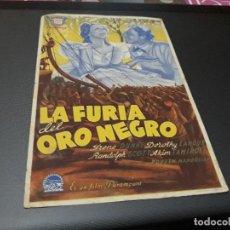 Cine: PROGRAMA DE MANO ORIGINAL - LA FURIA DEL ORO NEGRO ( CON PUBLICIDAD CINE DE VITORIA 1945) . Lote 104747127