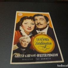 Cine: PROGRAMA DE MANO ORIGINAL - LA SEÑORA PARKINGTON ( CON PUBLICIDAD CINE DE VITORIA 1947 ) . Lote 104747487