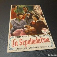 Cine: PROGRAMA DE MANO ORIGINAL - LA SEPULTADA VIVA ( CON PUBLICIDAD CINE DE VITORIA 1953 ) . Lote 104747515