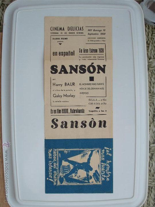 FOLLETO DE MANO DOBLE-SANSON - AÑO 1939 (Cine - Folletos de Mano - Comedia)