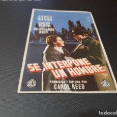 Cine: PROGRAMA DE MANO ORIGINAL - SE INTERPONE UN HOMBRE - ( CON PUBLICIDAD CINE VICTORIA 1954) . Lote 104817439