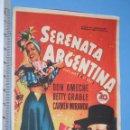 Cine: SERENATA ARGENTINA ( CARMEN MIRANDA) *** ANTIGUO FOLLETO CINE ROMANCE MUSICAL *** AÑO 1940. Lote 104891831