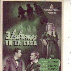 Folhetos de mão de filmes antigos de cinema: 3 LADRONES EN LA CASA. Lote 104924643