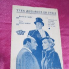 Cine: TRES ANCLADOS EN PARIS PROGRAMA DE CINE DOBLE. HISPANIA TOBIS AÑOS 30 . Lote 105385715