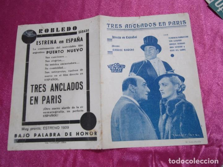 TRES ANCLADOS EN PARIS PROGRAMA DE CINE DOBLE. HISPANIA TOBIS C2 (Cine - Folletos de Mano - Aventura)