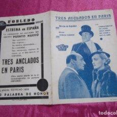 Cine: TRES ANCLADOS EN PARIS PROGRAMA DE CINE DOBLE. HISPANIA TOBIS C2. Lote 105385715