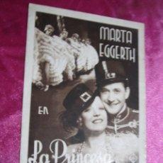 Cine: LA PRINCESA DE LA ZARDA MARTA EGGERTH PROGRAMA DE CINE DOBLE AÑOS 30 BUEN ESTADO. Lote 105543963