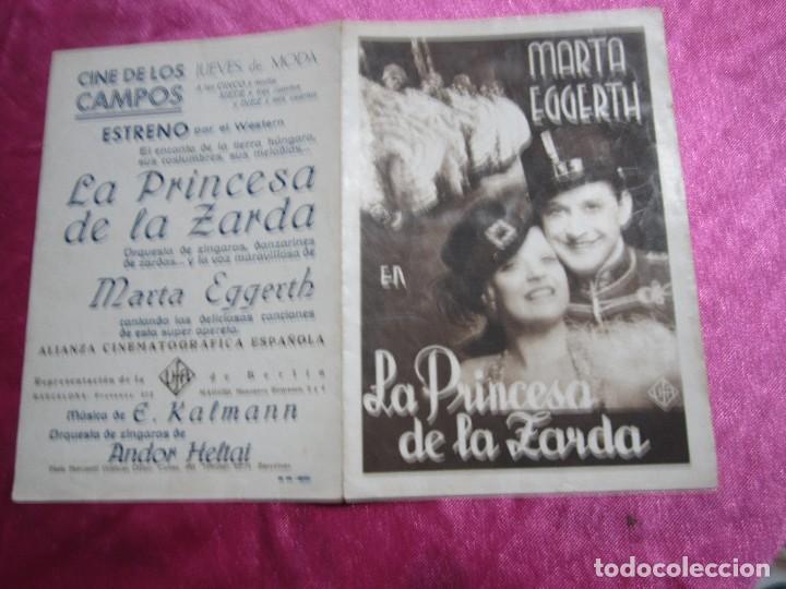 LA PRINCESA DE LA ZARDA MARTA EGGERTH PROGRAMA DE CINE DOBLE C2 (Cine - Folletos de Mano - Aventura)