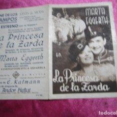 Cine: LA PRINCESA DE LA ZARDA MARTA EGGERTH PROGRAMA DE CINE DOBLE C2. Lote 105543963