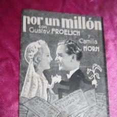 Cine: POR UN MILLON GUSTAV FROELICH CAMILA PROGRAMA DE CINE DOBLE C2. Lote 105545935