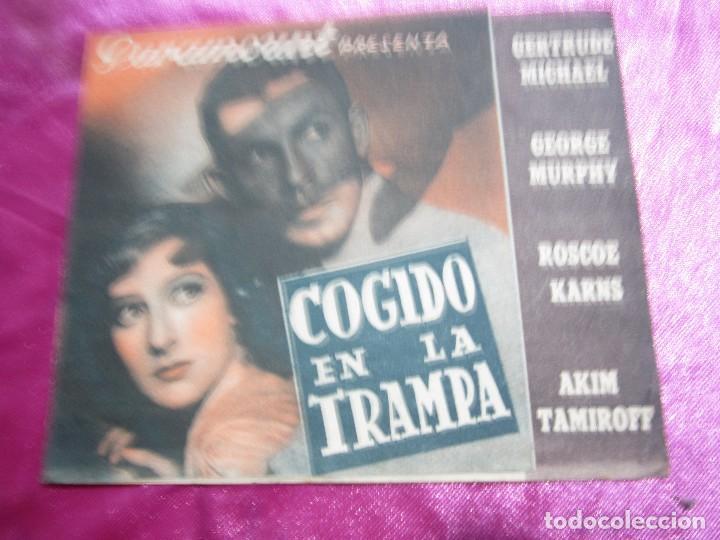 Cine: COGIDO EN LA TRAMPA PROGRAMA DE CINE DOBLE CINE POMBO MIERES C2 - Foto 3 - 105547371