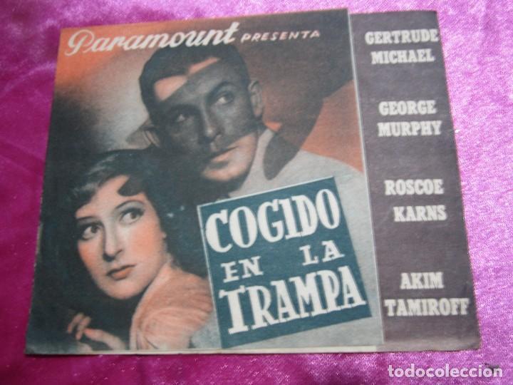 COGIDO EN LA TRAMPA PROGRAMA DE CINE DOBLE CINE POMBO MIERES C2 (Cine - Folletos de Mano - Aventura)