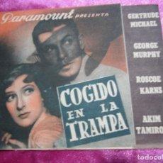 Cine: COGIDO EN LA TRAMPA PROGRAMA DE CINE DOBLE CINE POMBO MIERES C2. Lote 105547371