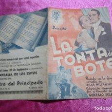 Cine: LA TONTA DEL BOTE JOSITA HERNAN PROGRAMA DE CINE DOBLE AÑOS 30. Lote 105548623