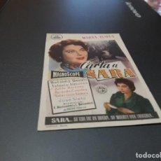 Cine: PROGRAMA DE MANO ORIGINAL - CARTA A SARA - ( CON PUBLICIDAD CINE DE JATIVA 1957 ). Lote 105592207