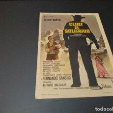 Cine: PROGRAMA DE MANO ORIGINAL - CLINT EL SOLITARIO - ( CON PUBLICIDAD CINE DE ALCIRA ). Lote 105594567