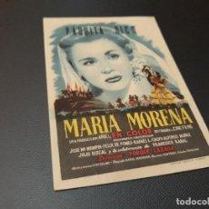 Cine: PROGRAMA DE MANO ORIGINAL - MARIA MORENA ( CON PUBLICIDAD CINE DE VITORIA 1952 ). Lote 105603631