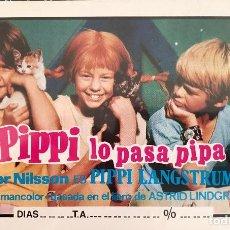 Cine: PIPPI LO PASA PIPA (EN FORMATO Y TEXTURA DE NAIPE). Lote 105617959