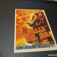 Cine: PROGRAMA DE MANO ORIGINAL - EL VALLE DEL SOL - ( CON PUBLICIDAD CINE DE VITORIA 1946 ). Lote 105639923