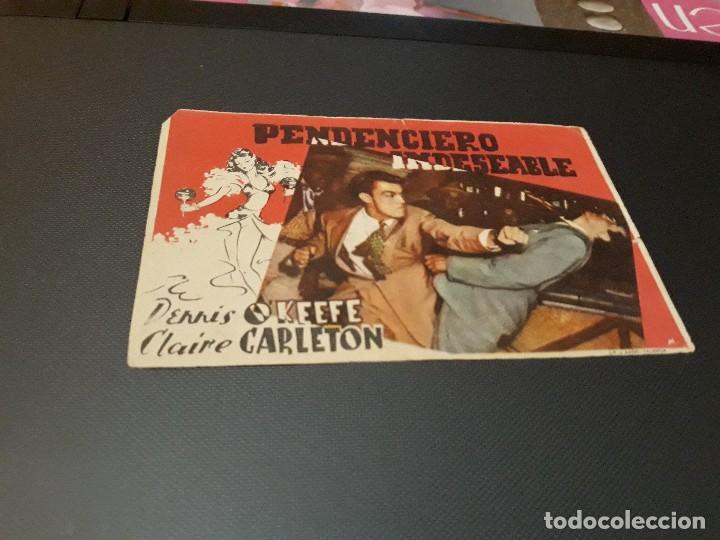 PROGRAMA DE MANO ORIGINAL - PENDENCIERO INDESEABLE - ( CON PUBLICIDAD CINE IDEAL SALON CINEMA 1945 ) (Cine - Folletos de Mano - Suspense)