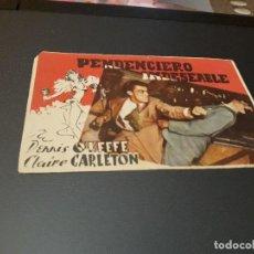 Kino - PROGRAMA DE MANO ORIGINAL - PENDENCIERO INDESEABLE - ( CON PUBLICIDAD CINE IDEAL SALON CINEMA 1945 ) - 105642351
