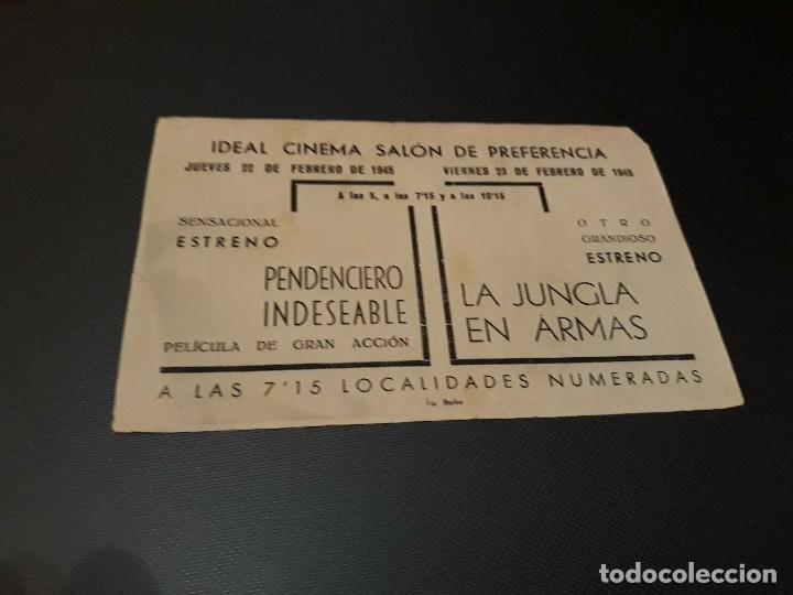 Cine: PROGRAMA DE MANO ORIGINAL - PENDENCIERO INDESEABLE - ( CON PUBLICIDAD CINE IDEAL SALON CINEMA 1945 ) - Foto 2 - 105642351