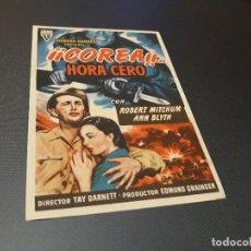 Cine: PROGRAMA DE MANO ORIGINAL - COREA ... HORA CERO - ( CON PUBLICIDAD CINE DE VALENCIA 1953 ). Lote 105643019