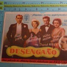 Cine: CARTEL DE MANO DE CINE AÑO 1944. DESENGAÑO. PUBLICIDAD GRAN TEATRO NACIONAL. 1634. Lote 105857203