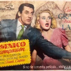 Cine: ARSENICO POR COMPASION- CARY GRANT- CINE TETUAN (BARCELONA) 3 NOVIEMBRE DE 1947. Lote 106009975
