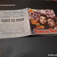Cine: PROGRAMA DE MANO ORIGINAL DOBLE - VIENTO DEL NORTE - CON PUBLI CINE DE EL ALGAR ( PEDIDO MIN 5 EU ). Lote 106095111