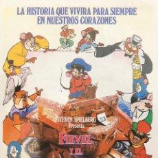 Cine: FIEVEL Y EL NUEVO MUNDO-- EN DORSO, SELLO CINE EUTERPE, RAMBLA DEL CAUDILLO, 5- SABADELL. Lote 106192815