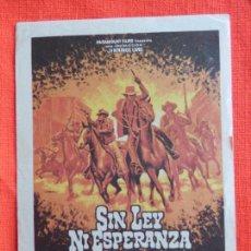 Cine: SIN LEY NI ESPERANZA, SENCILLO ORIGINAL, CLIF ROBERTSON ROBERT DUVALL, SIN PUBLICIDAD. Lote 106611795