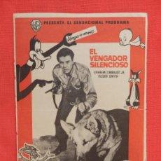 Cine: EL VENGADOR SILENCIOSO, SENCILLO ORIGINAL, EPHREM ZIMBALIST JR ROGER SMITH, SIN PUBLICIDAD. Lote 106612971