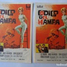 Cine: PROGRAMA. CÓDIGO DEL HAMPA, LEE MARVIN. ANGIE DICKINSON. LOTE DE 2 C/P. CINE PARIS 1963.. Lote 106670299