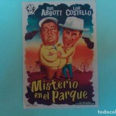 Cine: PROGRAMA. MISTERIO EN EL PARQUE, BUD ABBOTT, LOU COSTELLO, C/P, CINE ALKAZAR. RARISIMO.. Lote 106969735