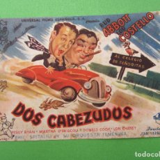 Cine: DOS CABEZUDOS , BUD ABBOTT , LOU COSTELLO. Lote 106988275