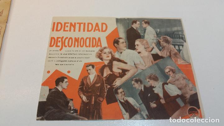 IDENTIDAD DESCONOCIDA, PARAMOUNT FILM, CINE ESPAÑA. (Cine - Folletos de Mano - Drama)
