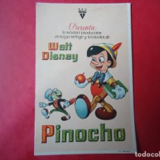 Cine: PROGRAMA. WALT DISNEY, PINOCHO, LA ORIGINAL. . Lote 115743604