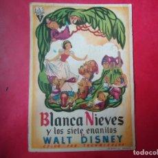 Cine: PROGRAMA. WALT DISNEY, BLANCA NIEVES Y LOS 7 ENANITOS, S/P. . Lote 107756071