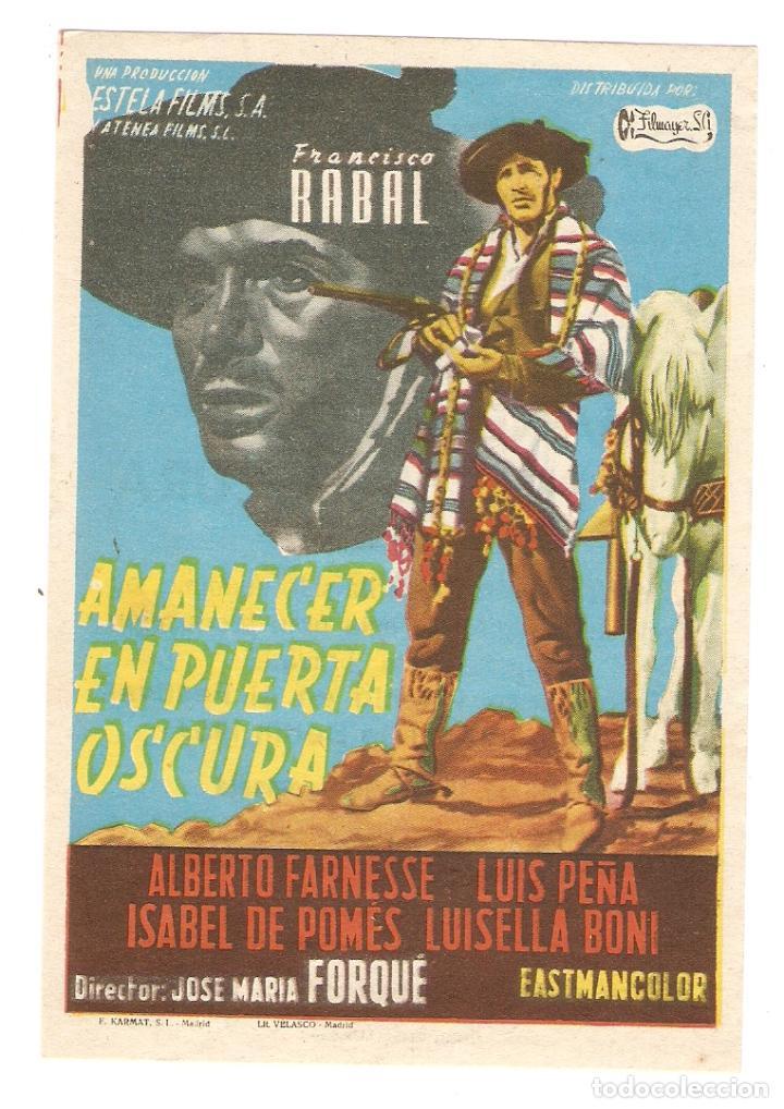 AMANECER EN PUERTA OSCURA - FRANCISCO RABAL, ALBERTO FARNESSE - DIRECTOR JOSÉ MARÍA FORQUÉ (Cine - Folletos de Mano - Clásico Español)