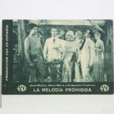 Cine: PROGRAMA DE CINE / TARJETA FOTOGRAMA - LA MELODÍA PROHIBIDA - CON PUBLICIDAD - FOX, AÑO 1933. Lote 109012535