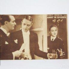 Cine: PROGRAMA DE CINE / TARJETA FOTOGRAMA - ANNY SE DIVIERTE - CON PUBLICIDAD - CINNAMOND, AÑO 1934. Lote 109012659