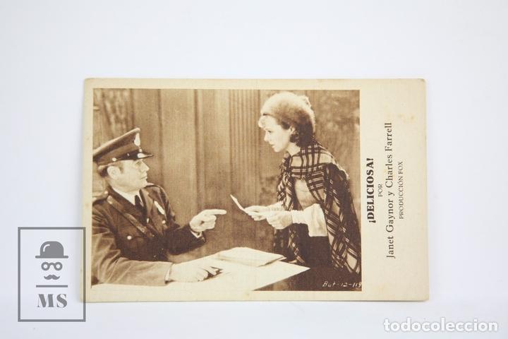 PROGRAMA DE CINE / TARJETA FOTOGRAMA - ¡ DELICIOSA ! / JANET GAYNOR - CON PUBLICIDAD - FOX, AÑO 1932 (Cine - Folletos de Mano - Comedia)